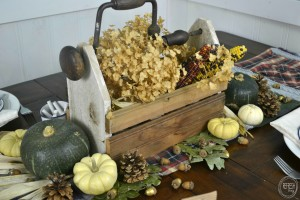 Centerpiece with pumpkins dried hydrangeas rustic wooden box| Natural Fall Tablescape with Vintage Finds