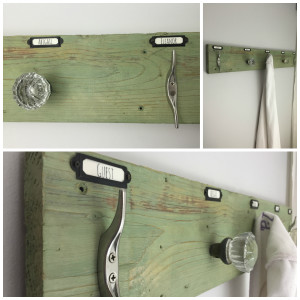 Towel rack with antique glass door knobs| Vintage Rustic Industrial Bathroom Makeover for $200