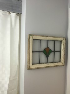 Stained glass window | Vintage Rustic Industrial Bathroom Makeover for $200