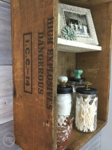 Upcycled Wooden Crate as Bathroom Storage | Vintage Rustic Industrial Bathroom Makeover for $200