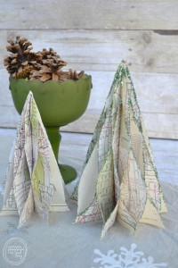 Ways to reuse old maps | Vintage Map Christmas Trees | Use maps to create holiday decor