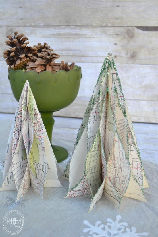 vintage map honeycomb christmas trees