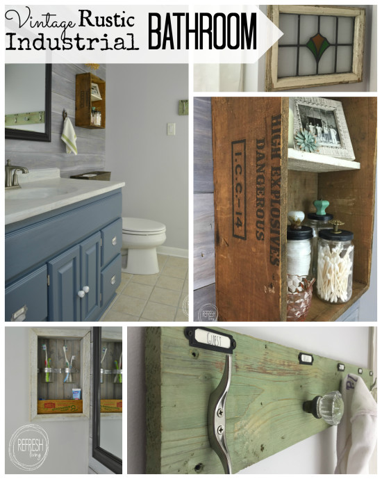 vintage rustic industrial bathroom on a budget