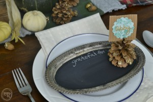 Vintage Silver Platter Chalkboard | Natural Fall Tablescape with Vintage Finds