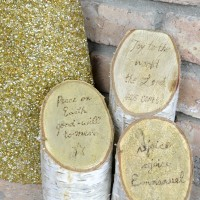Birch Pillars with Christmas Song Lyrics