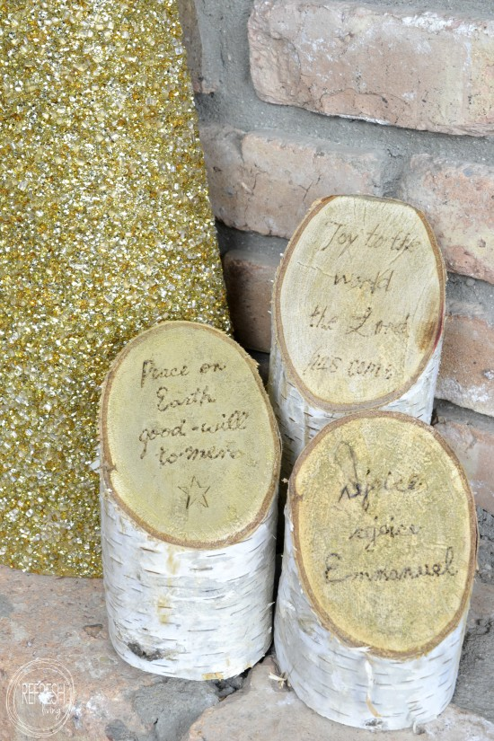 birch log pillars with christmas lyrics