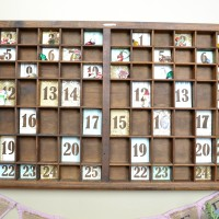 Christmas Advent Calendar from a Vintage Printer's Tray