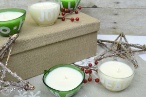 DIY Holiday Candle from Glass Punch Cups   how to make your own candle   handmade gifts for Christmas
