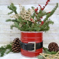 Upcycled Coffee Can Craft into Santa Vase   reuse an old can to create Christmas decor