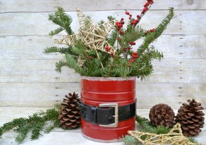 Upcycled Coffee Can Craft into Santa Vase | reuse an old can to create Christmas decor