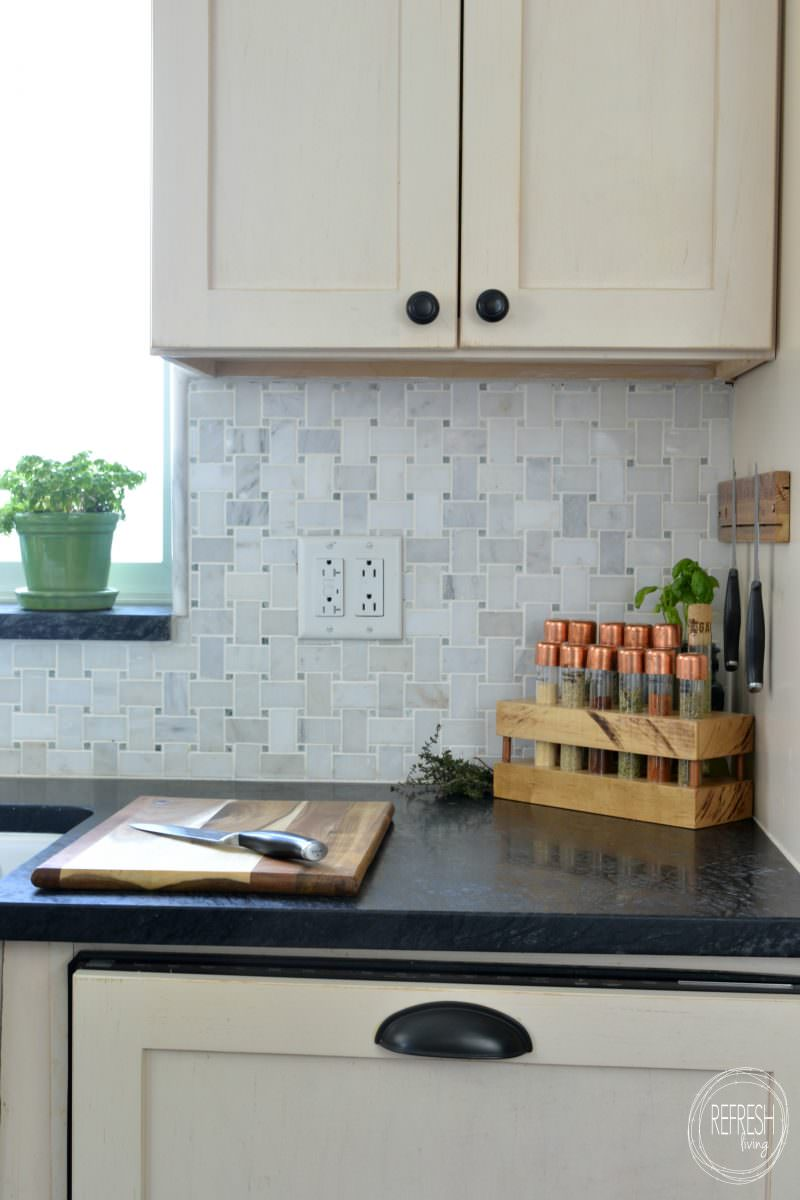 DIY test tube spice rack with butcher block and copper tops ...