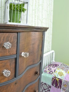 Lined dresser drawers | Dark gray and stained oak dresser | Antique oak dresser with serpentine drawers with a stained wood top | Two toned dresser