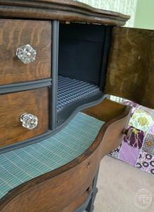 Lined dresser drawers   Dark gray and stained oak dresser   Antique oak dresser with serpentine drawers with a stained wood top   Two toned dresser