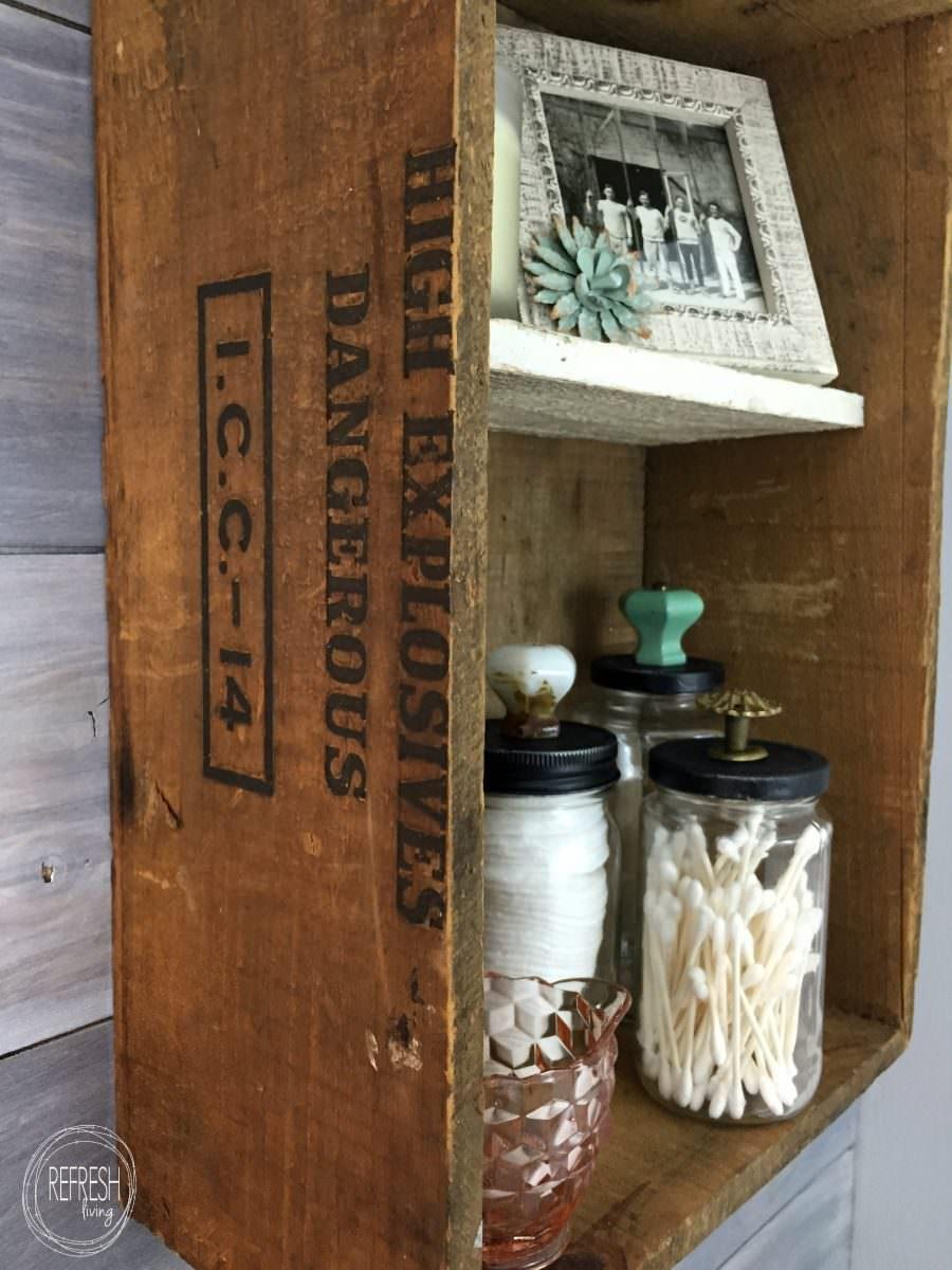 reuse old glass jars as decorative bathroom storage