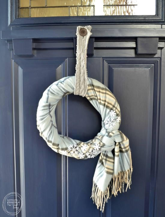 diy scarf wreath with snowflakes