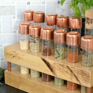 DIY Spice Rack with test tubes, copper pipe, and butcher block | Rustic industrial DIY spice rack | The best size test tubes to create a spice rack