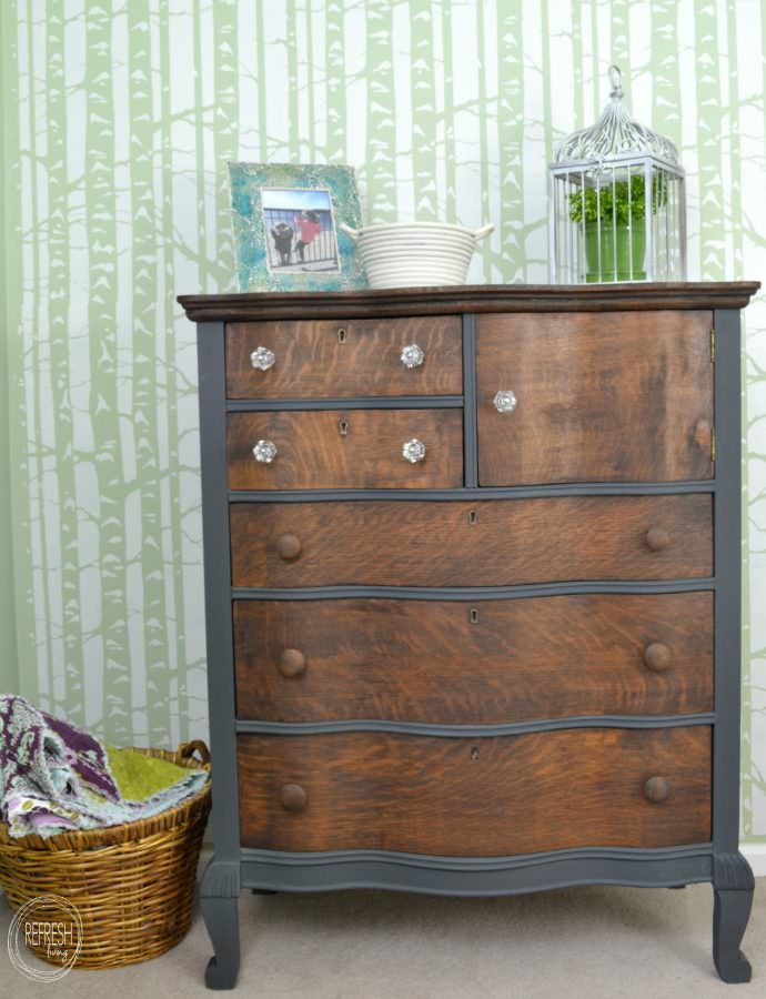 Dark Gray And Stained Oak Dresser Antique With Serpentine Drawers A