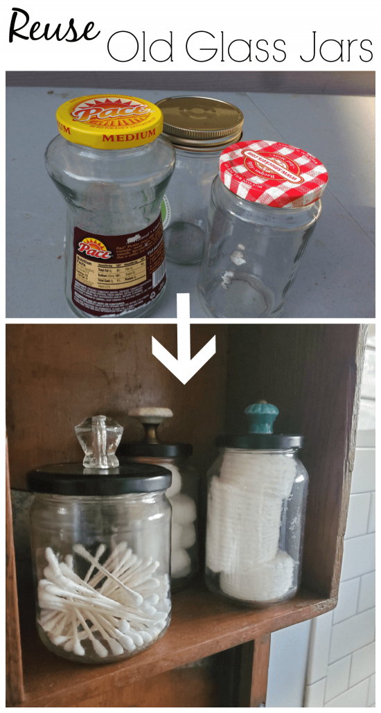 Save your glass food jars! This is a great way to store supplies and reuse. Plus, tons of other ideas on how to reuse glass jars for other purposes as well.