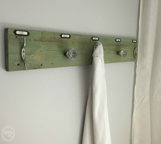 rustic industrial towel rack with antique glass knobs 2