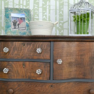 Painted and stained wood antique dresser | two toned dresser