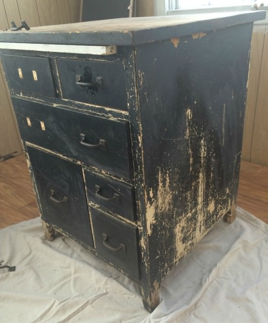 Antique baking cabinet before