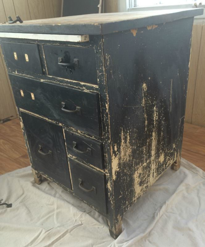 Antique baking cabinet before - Antique Baking Cabinet Before - Refresh Living