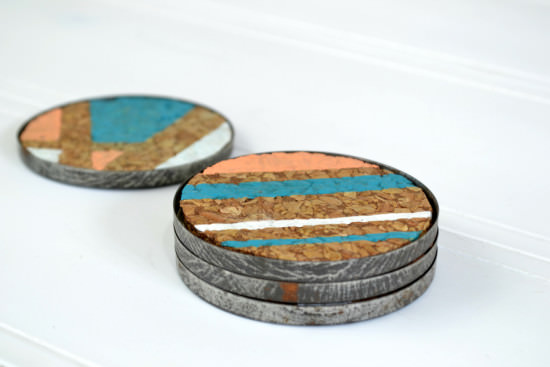 Mason jar lid cork coasters