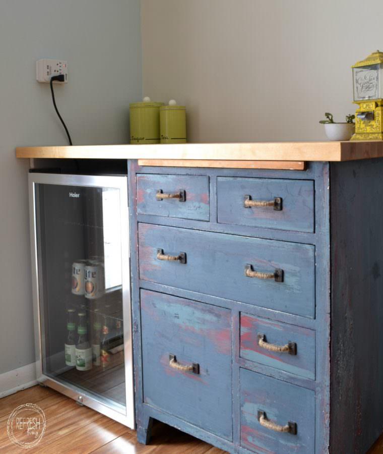 Kitchen Cabinets Around Fridge: Refinished Antique Baker's Cabinet