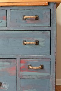 Reuse an old dresser as a countertop base | Antique Baker's Cabinet Upcycle | How to paint different colored layers of paint on furniture
