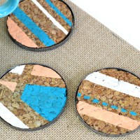 DIY Geometric Coasters with Cork and Vintage Mason Jar Lids