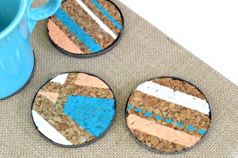 diy coasters with cork and geometric design