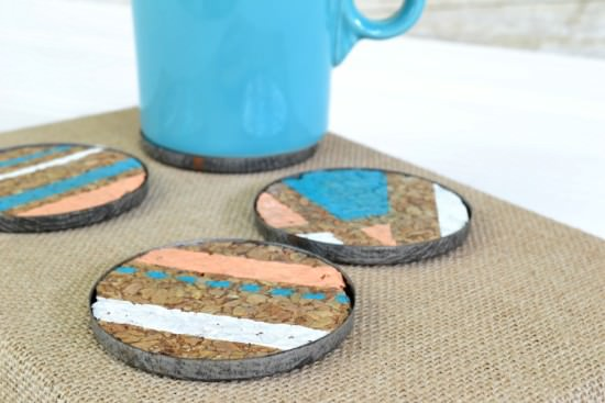 diy geometric coasters with cork