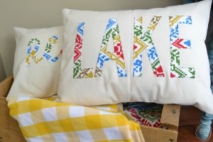 how to make word pillows with fabric   how to cut fabric with silhouette   DIY pillow with vintage fabric