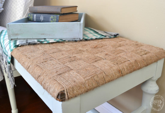rustic DIY woven bench   take a chair or bench without a seat and make a woven top   how to weave twine into a seat