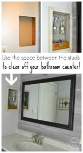 Control bathroom countertop clutter by building a storage shelf in your wall, between the studs | how to build a shelf in your wall | store toothbrushes above the counter