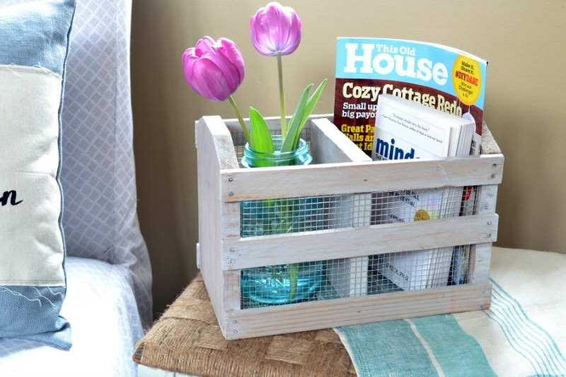 It's amazing how easy it is to transform thrift store finds into pieces that will match your decor. The whitewash finish on this wooden crate give it the perfect farmhouse look!