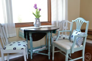How to reupholster dining chairs   Painted and Reupholstered dining chairs   Turquoise, navy blue, gray chairs