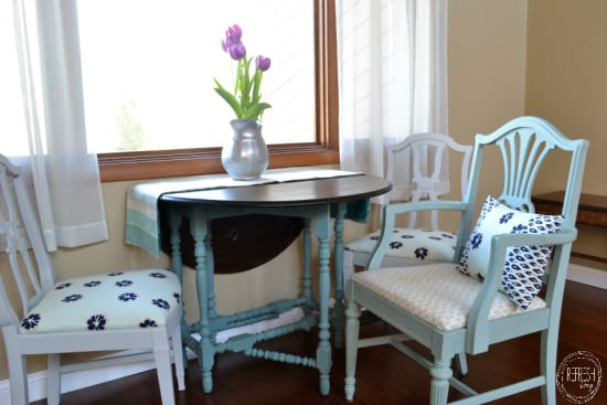 How to reupholster dining chairs | Painted and Reupholstered dining chairs | Turquoise, navy blue, gray chairs