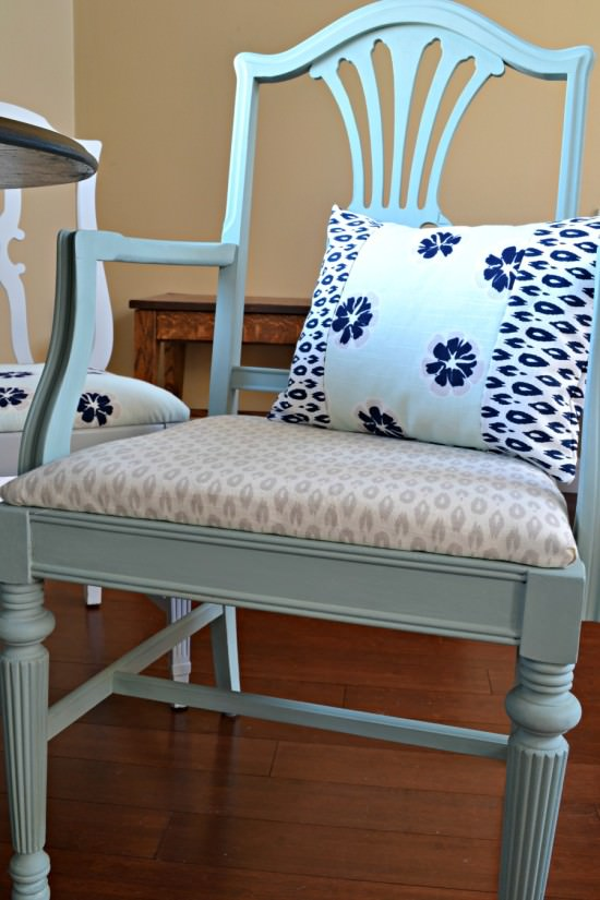 turquoise and gray dining chair