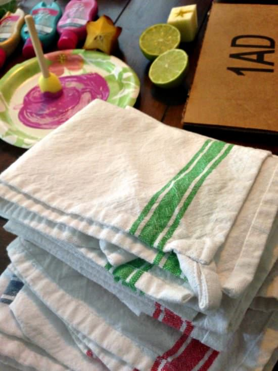 diy fruit stamped kitchen towels