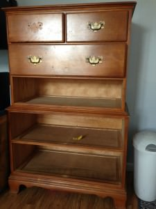 What can you do with a dresser without drawers? What a great idea to create a refinished dresser without drawers into storage for beach supplies! This would be great at a lake house or beach house.