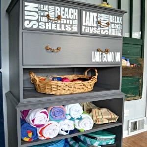 Refinished Dresser without Drawers into Beach Storage