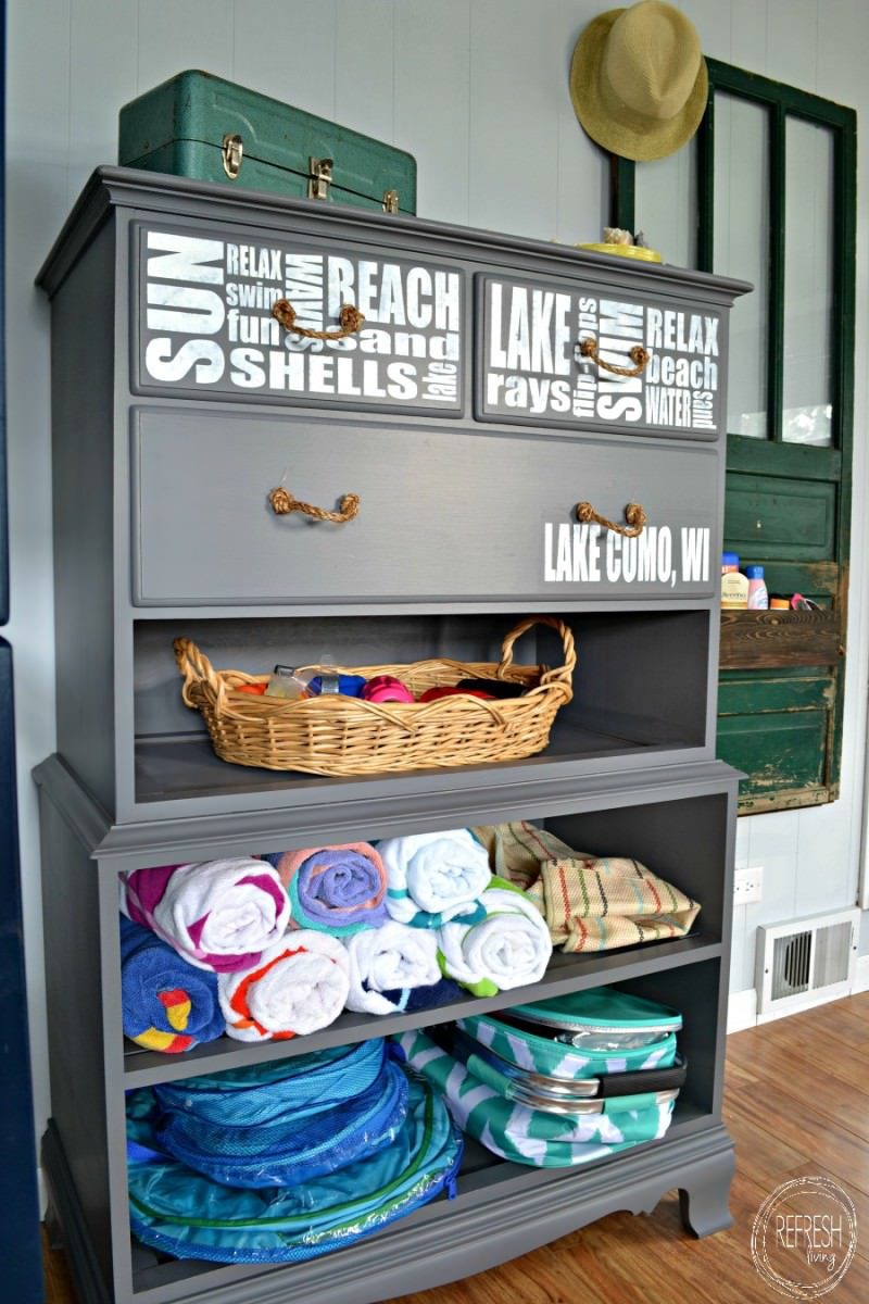 Very Refinished Dresser without Drawers into Beach Storage - Refresh Living BE73