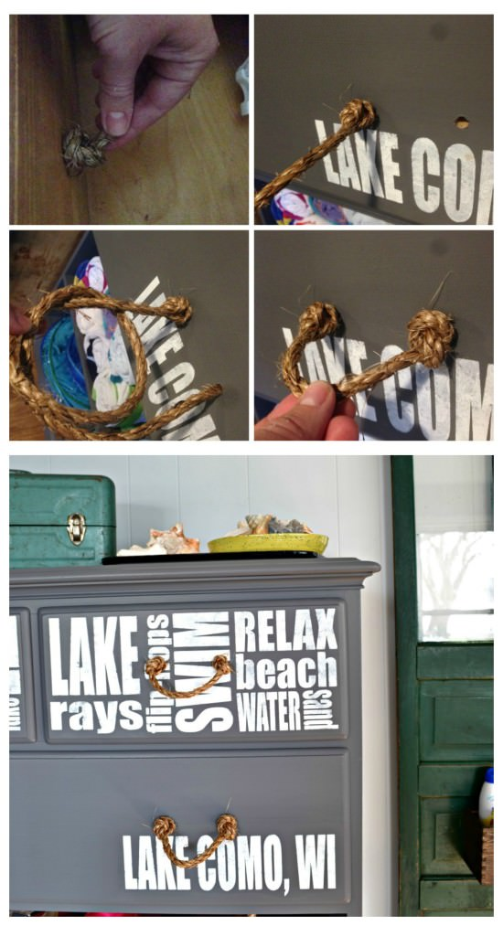 Make handles out of rope for a cheap and easy way to bring coastal charm to a dresser. This would be perfect for a lake house, beach house, or nautical themed room!