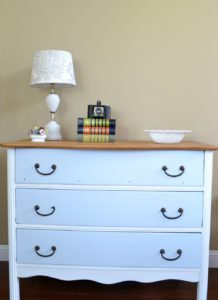 Antique dresser painted with white and turquoise with a natural wood top | two toned dresser refinish
