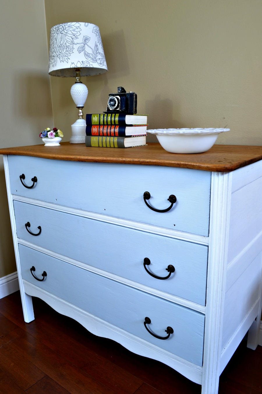 white and turquoise painted dresser with wood top refresh living