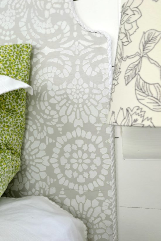 diy headboard with stencil in gray and white