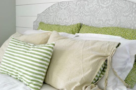 farmhouse bedroom neutral colors with green