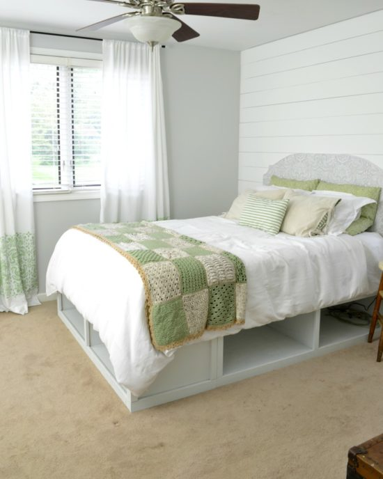 vintage farmhouse bedroom with white and green