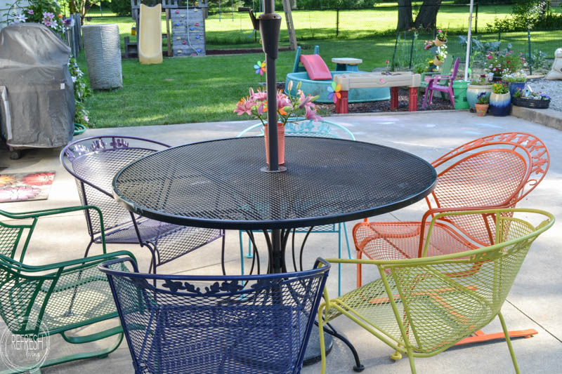 how to paint metal lawn furniture refresh living rh refreshliving us redo iron patio furniture redo patio furniture cushions